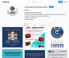 Link to CVCC Instagram Page.